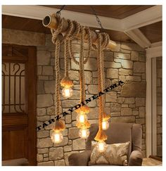 Pastoral Country Bamboo Hemp Rope Pendant Lights Fixture Vintage Wood Droplight Restaurant Home Indoor Dining Room Pendant Lamp Lamp, Loft Decor, Rope Lights, Vintage Lighting, Rope Lamp, Pendant Lighting Dining Room, Dining Room Pendant Lamp, Lamp Light, Lights