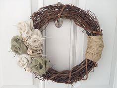 Burlap & Ivory Wreath by tkCo on Etsy, $30.00