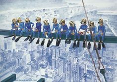 Art by Pascal - The Painter of Blue ® Lunch On A Skyscraper, Skyscraper New York, Diving World, Santa Barbara Ca, Ca Usa, Social Art, Rockefeller Center, Construction Worker, Stage