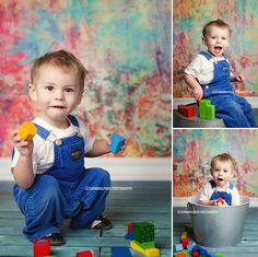 One year old with blocks and colorful backdrop from BadSass Backdrops by Carman & Pugh Photography Studio www.carmanandpugh.com