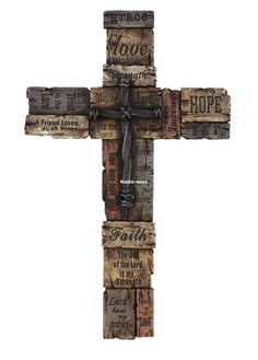 Beautiful Wall Cross with Sayings, Realistic Wood Texture with Cross in Middle