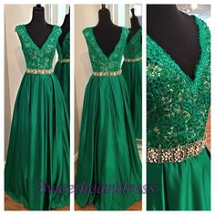 New design green lace V-neck long homecoming dress with beaded belt, 2016 ball gown, modest dress, cute evening dress for teens -> sweetheartdress.s... #coniefox #2016prom