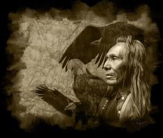 """$1750; """"Three Eagles"""" Digital Painting inspired by the Edward S. Curtis Collection"""