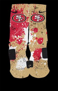 San Francisco 49ers Inspired Custom Nike Elite Socks  Each pair is custom created when you order. There are minor flaws in each creation -- no two socks are the same.  These are authentic Nike Elite socks for sale. The design on the sock was not created by Nike, but was created and customized...