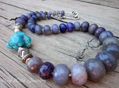 Chunky Turquoise Necklace with Purple Agate and by hogwildjewelry