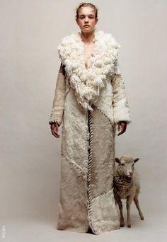 """Doux Comme Un Agneau"". Natalia Vodianova by Jean-Baptiste Mondino Natalia Vodianova, Jean Baptiste, Losing A Dog, Animal Fashion, Textiles, Mode Vintage, Mode Outfits, Ethnic Fashion, Fashion Women"