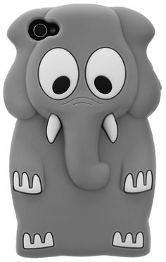 GREY CARTOON ELEPHANT IPHONE 4/4S CASE.