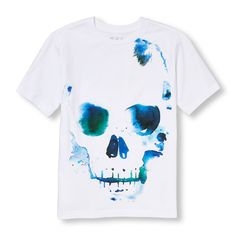 s Boys Short Sleeve Watercolor Skull Graphic Tee - White T-Shirt - The Children's Place
