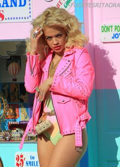 Rita Ora looks lovely in neon colors