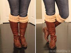 DIY Boot socks from scarves