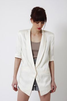 Boyfriend Blazer, Tailored Jacket with Shoulder Pads in Size XS, S, M & L, 3/4 sleeve blazer,vintage inspired, retro chic jacket. $110.00, via Etsy.
