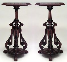 Pair Of American Victorian Eastlake Walnut Pedestals With Ebonized And Gilt Trim And Centerpost