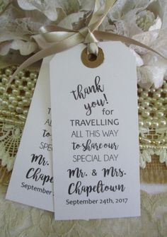 beach wedding favors Thank You for Travelling To Share Our Special Day - Personalized Wedding Favors - Wedding Napkin Ties -Calligraphy Wedding Table Decor Tags by TheIvoryBow on Etsy Destination Wedding Favors, Creative Wedding Favors, Inexpensive Wedding Favors, Elegant Wedding Favors, Edible Wedding Favors, Wedding Favors For Guests, Personalized Wedding Favors, Wedding Parties, Wedding Ideas
