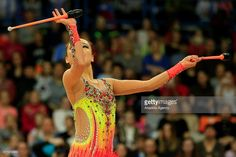 Jae Yeon Son of Korea performs the clubs exercise in the final, the International Rhythmic Gymnastics Championship at the Alina Cup Grand Prix 2016 event in Moscow, Russia, on February 21, 2016.