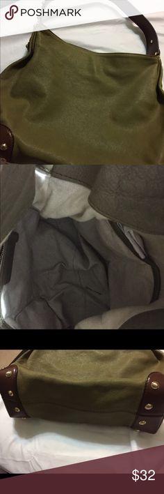Michael Kors leather purse (Olive green) RE-POSH Michael Kors leather purse (Olive green). Small stain on bag. Clean inside. Michael Kors Bags Hobos