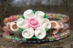 Day of the Dead Bracelet Sugar Skull Wrap Around Mini SkuLLs Pastels Fimo flower
