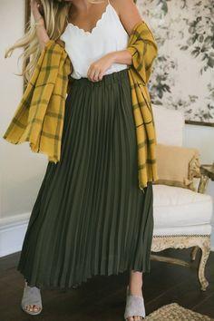 ec3ed117f Aubrey Olive Pleated Midi Skirt - Morning Lavender Midi Skirt Outfit,  Pleated Midi Skirt,