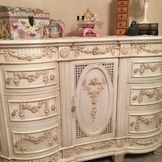 Items similar to Painted Cottage Chic Shabby French Dresser on Etsy Shabby Chic Queen Bed, Shabby Chic Français, Shabby Chic Romantique, Muebles Shabby Chic, Shabby Chic Furniture, Painted Furniture, Chic Chalet, White Fireplace Mantels, Cottage Shabby Chic