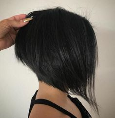 Black Layered Angled Bob