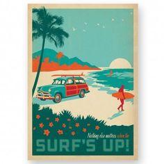 Surf's Up Vintage Design Poster