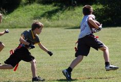 Young flag football player running. Youth Flag Football, Football Players, Kids Playing, Running, Sports, Soccer Players, Racing, Hs Sports, Children Play