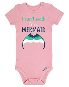 2bb0961716 Amazon.com: Panoware Funny Baby Girl Onesie | I Can't Walk I'm a Mermaid,  Pink, 0-3 Months: Clothing