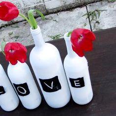 Wijnflesvaas met schoolbordverf