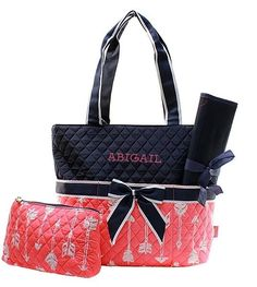 Personalized Arrow Coral Quilted Baby Diaper Bag Monogrammed Embroidered Tote & Changing Pad Monogram Name Girl Boy by GiftsHappenHere on Etsy https://www.etsy.com/listing/270518930/personalized-arrow-coral-quilted-baby