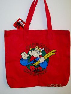 """Popeye Christmas Shopping Bag King Features 1994 Skeesons Greetings 16"""" x 17 1/2"""