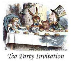 Tea Party Invitations - Free Printable Mad Hatter Design #Free #Tea #Party Printables
