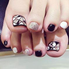 Fashion False Nails Fake Toe Nails Tips Manicure Nail Art With Glue Glitter Toe Nails, Gem Nails, Glue On Nails, French Nails, Faux Ongles Capsules, Summer Toe Nails, Nagel Hacks, Nails Design With Rhinestones, Patches
