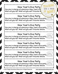 New Year's Day Printable Worksheets