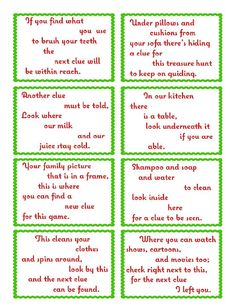 Treasure Hunt Clue Cards - Page 1   elfoutfitters.com #elfoutfitters free printable: