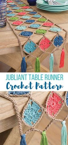 in LOVE with the colors and style of this trendy modern yet retro style table runner pattern. LOVE it lol - not super hard either. #crochettablerunner #crochettablerunnerpattern #crochethomepatterns #crochetpattern #easycrochetpatterns #tablerunner #diycrochetpatterns #affiliate