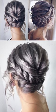 Whether you choose an updo or prefer to leave your hair down, there are tons of unique and beautiful hairstyles to consider for your big day. I've gathered over 200 charming wedding hairstyles… Braided Crown Hairstyles, Twisted Updo, Bride Hairstyles, Down Hairstyles, Bridal Hair Inspiration, Cool Braids, Wedding Hair And Makeup, Hair Wedding, Bridesmaid Hair