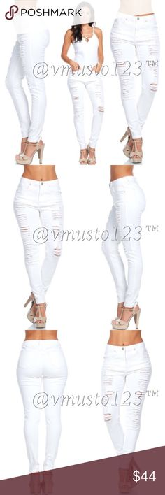 COMING SOON - STRETCHY WHITE DESTROYED DENIM DESIGNED IN USA - Arriving by 3/29 - More details to follow: WOMEN'S HIGH RISE DESTROYED SKINNY PANTS 97% COTTON, 3% SPANDEX- THESE ARE JUNIORS SIZING, RUNS FITTED AND NOT LOOSE. COMES JUNIOR SIZES 5, 7, 9, 11, 13, 15 The Conversion for women: 2 (5) 4 (7) 6 (9) 8 (11) 10 (13) 12 (15) ValMarie Boutique Jeans