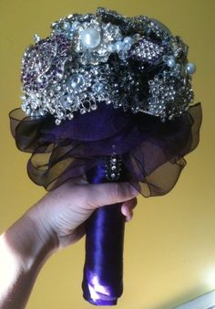 Brooch Bouquet :  wedding black bouquet diy purple white Brooch Bouquet Front