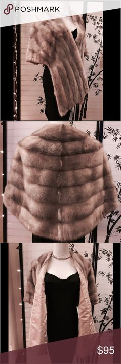 🌺Beautiful Silver Grey 💯Mink Fur Shawl Wrap💕🌺 🌺Simply Beautiful 💯Real Mink Fur Wrap in gorgeous Silver Gray with pretty champagne colored Satin Lining ~ this is a vintage beauty but please note that all my furs are professionally cleaned and kept in a climate controlled closet ~ this would be perfect for a Wedding, Prom or Cocktail Xmas or New Years Celebration 🎉 ~ if you have any questions or need measurements & more photos ~ please kindly ask ~ Thank you for shopping my closet…