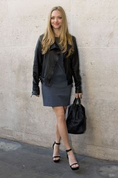 11 celebrity trendsetters by city: Amanda Seyfried pictured in a leather jacket over a grey dress