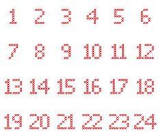 Cross-Stitch-Adventskalender-Zahlen in verschiedene Dateiformate umgewandelt als Plotter-Freebie