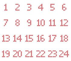 Cross-Stitch-Adventskalender-Zahlen in verschiedene Dateiformate umgewandelt als… Cross-stitch advent calendar numbers converted to different file formats as a plotter freebie Cross Stitch Numbers, Cross Stitch Letters, Cross Stitch Baby, Cross Stitch Charts, Learn Embroidery, Cross Stitch Embroidery, Embroidery Patterns, Cross Stitch Alphabet Patterns, Stitch Patterns