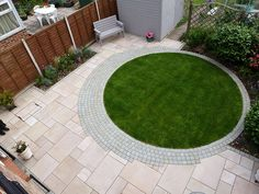 pair of new separate circular lawns show potential for distinct areas once screening planting grows geometric lawns pinterest gardens
