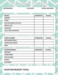 Free Printable: Vacation Budget Worksheet!