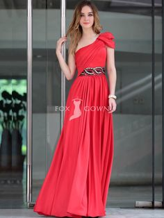 full length one-shoudler red formal dress with cap-sleeve and empire waist  Party 843920fb907a