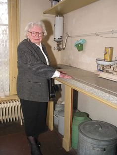 Miep Gies in the kitchen of the Annexe