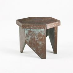 FRANK LLOYD WRIGHT    stool from Price Tower, Bartlesville, Oklahoma    USA, 1956  copper  19.75 w x 17 d x 15.25 h inches