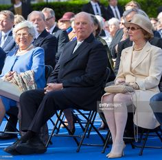 King Harald of Norway attends the unveiling of a statue of King Olav V at the City Hall Square on June 7, 2015 in Oslo, Norway.