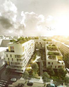 MFR/ Housing/ Gennevilliers - France render binnentuin collectief appartementen gevel daktuin tuin POLK tilia