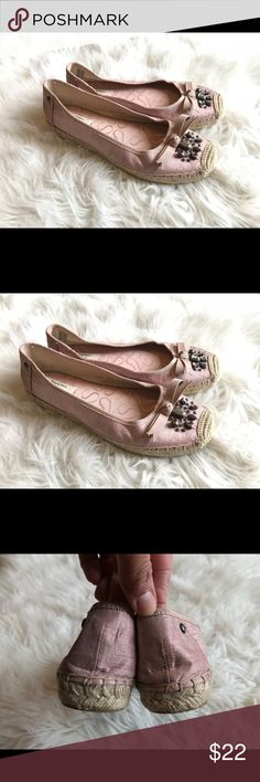 Simply Vera Wang Pink Rhinestone Espadrilles Sz 7 Simply Vera Vera Wang Women's Size 7 Pink Rhinestone Embellished Espadrilles.  Preowned With Normal Wear ( worn twice).  Please let me know if you have any additional questions and I will get back to you ASAP.  Follow my closet new items are added daily. Simply Vera Vera Wang Shoes Espadrilles