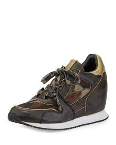 Dean Camouflage-Print Wedge Sneaker, Army/Desert/Black - Ash